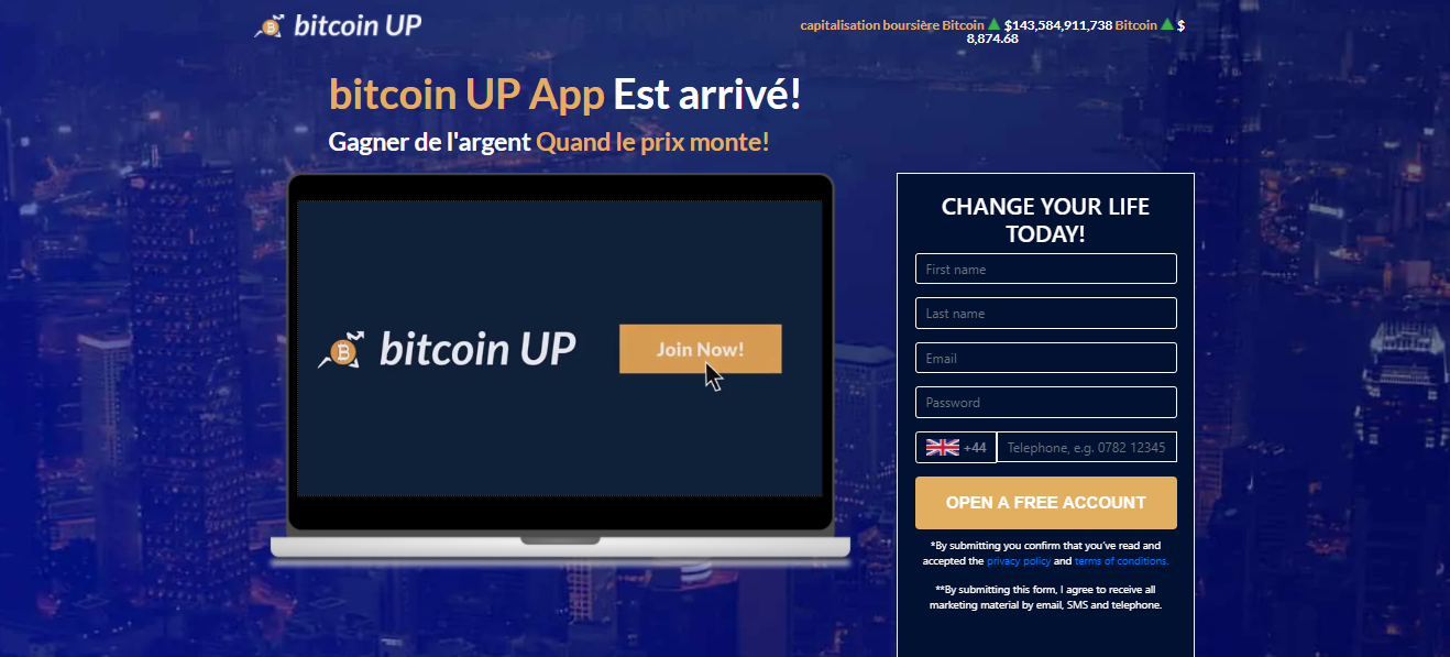 bitcoin UP homepage