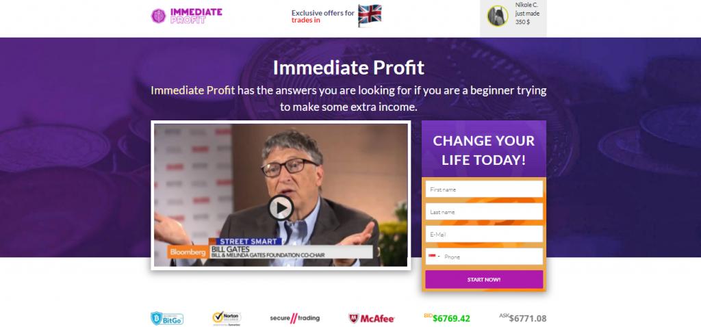 Immediate Profit Homepage-French