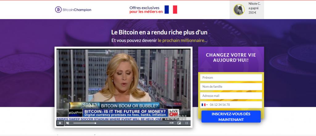 Bitcoin Champion homepage-French
